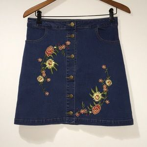 Denim jeans button down embroidered mini skirt
